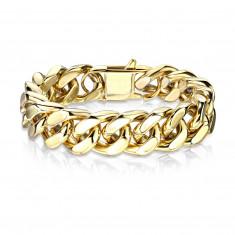 Massives Armband aus Stahl in goldener Farbe – breite flache Kette, verschiedene Längen
