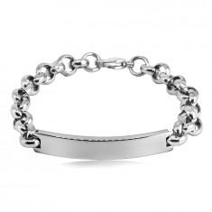 Stahl Armband - glatte abgerundete Platte, Kette aus runden Gliedern, Karabinerverschluss