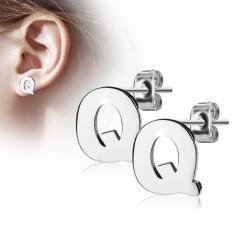 Stahl Ohrringe in silberner Farbe – der Großbuchstabe Q, hochglänzend
