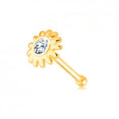 Diamant Nasenpiercing aus 585 Gelbgold - Blume mit einem Brillanten in klarer Farbe