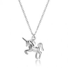 925 Silber Halskette - galoppierendes Einhorn, Kette aus ovalen Gliedern