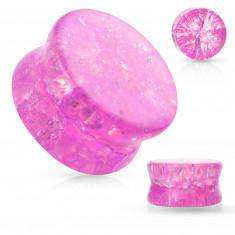 Glas Sattel Ohr Plug mit abgerundeten Kanten, transparent, rosa Farbe, gebrochener Effekt
