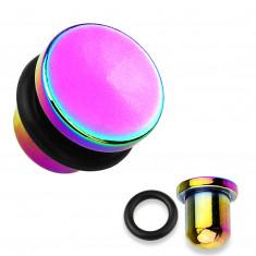 Ohr Plug aus 316L Stahl und Titan in Regenbogenfarben, schwarzes Gummiband, verschiedene Dicken