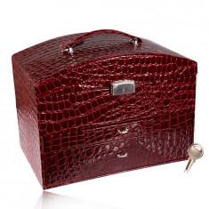 Schmuckkoffer in burgunderroter Farbe, Krokodilmuster, Metalldetails in silberner Farbe, Schlüssel