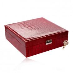 Rechteckiger Schmuckkasten in roter Farbe - Krokodilleder-Imitation, Schnalle, Schlüssel
