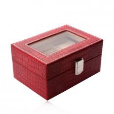 Rechteckiger Schmuckkasten in roter Farbe - Krokodilleder-Imitation, Schnalle