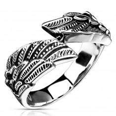 Ring aus 316L Stahl, Flügelform, silberne Farbe