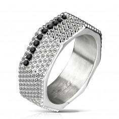 Stahl Ring - Industrie-Stil, massive Schraube mit Erhebungen und schwarzen Zirkonen