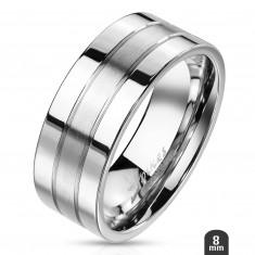 Stahl Ring mit zwei glänzenden Streifen an dem Rand und einem matten mittleren Streifen, 8 mm