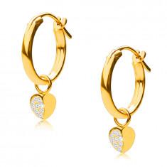 14K Gold Ohrringe, Reifen mit einem Herz-Anhänger, französischer Verschluss, 12 mm