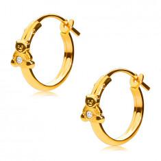 14K Gold Ohrringe, Reifen mit einem Teddybären und einem Zirkon, französischer Verschluss, 12 mm