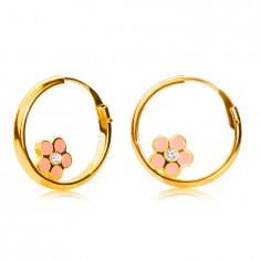 14K Gold Creolen, rosa Blume, glänzende Oberfläche, 12 mm