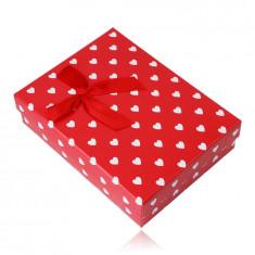 Geschenkschachtel für eine Kette oder ein Set - weiße Herzen, roter Hintergrund
