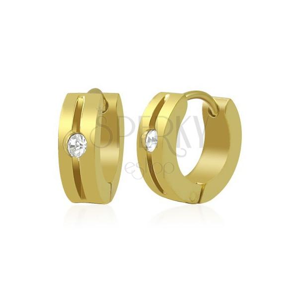 Ohrringe aus 316L Stahl - goldfarbene Creolen mit Rille und klarem Zirkonia