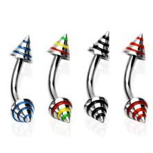 Augenbrauenbogen mit drei farbigen Streifen