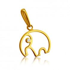 9K Gelbgold Anhänger - Elefant-Umriss mit Rüssel, klarer Zirkon
