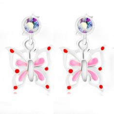 925 Silber Ohrringe, Schmetterling mit weiß-rosa Flügeln, irisierender Kristall