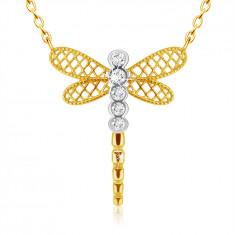 Anhänger aus kombiniertem 9K Gold - Libelle mit Gitter Flügeln, klare Zirkone