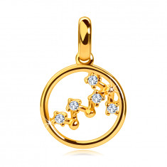 Anhänger aus 14K Gelbgold, Sternbild des Tierkreiszeichens 'Skorpion', Kreis, klare Zirkone