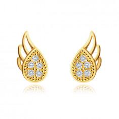 375 Gold Ohrringe – geflügelte Träne, kleine runde Zirkone, Ohrstecker