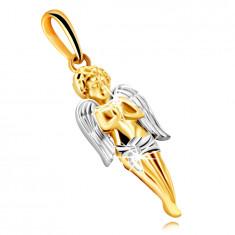 Anhänger aus kombiniertem 9K Gold – ein betender Engel mit Flügeln
