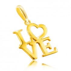 """Anhänger aus 9K Gelbgold – Aufschrift """"LOVE"""" in Großbuchstaben, Herz anstelle des Buchstaben O"""