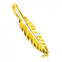 Anhänger aus 9K Gold – glänzende eingravierte Feder, Zirkon