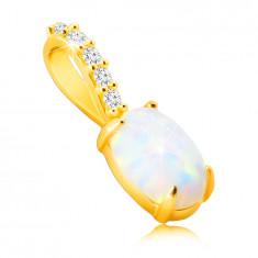 Anhänger aus 9K Gold – ovaler synthetischer Opal mit Regenbogen-Widerschein, kleine glitzernde Zirkone