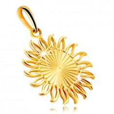 Anhänger aus 9K Gelbgold – Sonne mit länglichen Einschnitten, wellige Strahlenkonturen
