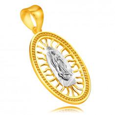 375 kombinierter Gold Anhänger – Medaillon mit der Jungfrau Maria mit gefalteten Händen