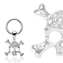 316L Stahl Piercing - Kreis und Kugel, Schädel und Knochen in X Form