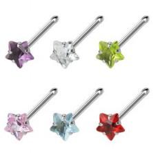 Stahl Nasenpiercing mit sternförmigem farbigem Zirkon