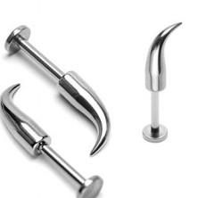 316L Stahl Kinn und Lippen Piercing - glänzende gebogene Spitze, Breite 1,6 mm