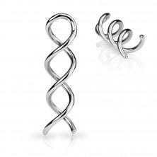 Stahl Ohrpiercing in silberner Farbe - glänzende Kontur einer Spirale