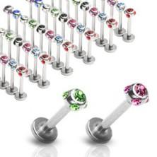 Kinn und Lippen Piercing aus Stahl - Kugel mit Zirkonen um den Umfang