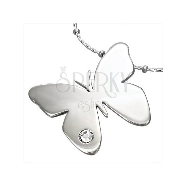 Chirurgenstahlanhänger, glänzender Schmetterling mit klarem Zirkonia