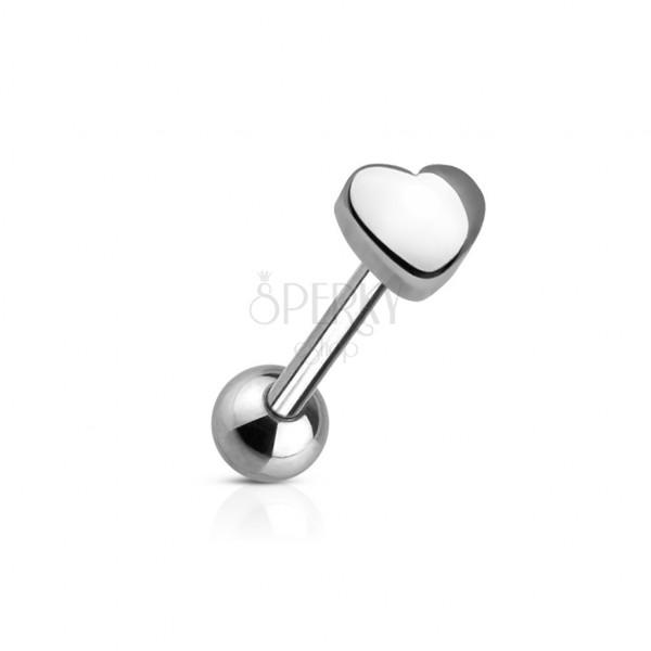 Zungenpiercing mit einem kleinen Herzen