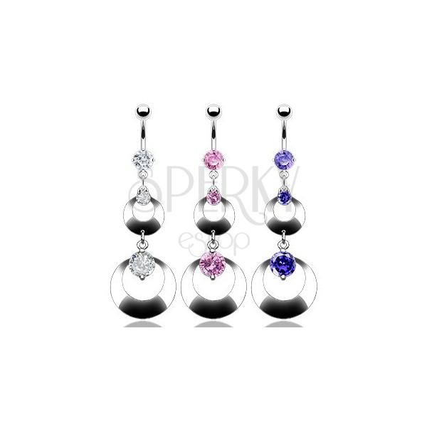 Bauchnabelpiercing mit zwei Ringen und drei Zirkonen