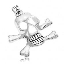 Chirurgenstahlanhänger - Piratenschädel in silberner Farbe