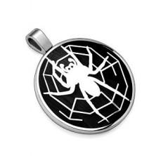 Anhänger aus 316L Stahl, schwarze Scheibe mit Spinne im Spinnennetz