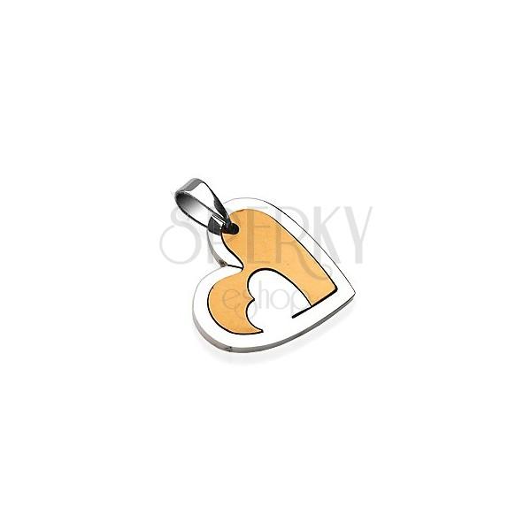 Edelstahlanhänger, Herz mit Schlitzloch, silberne und goldene Farbe