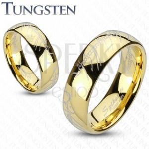 Wolframring in Gold mit Motiv aus Der Herr der Ringe