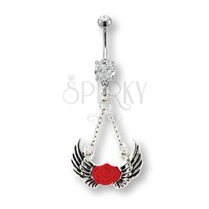Nabelschmuck mit Engelflügeln und roter Rose