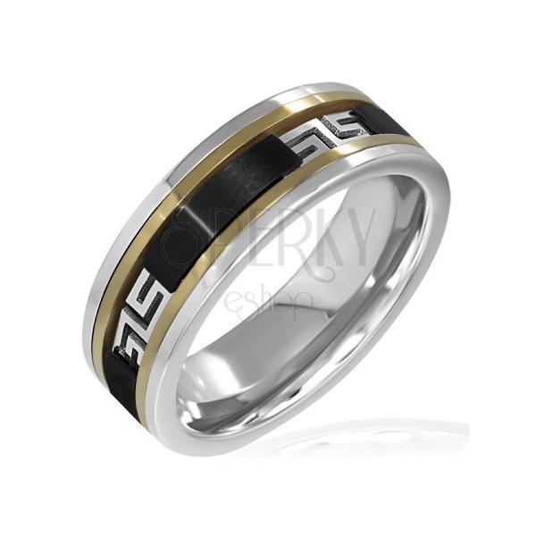 ring in silber gold und schwarz griechisches muster. Black Bedroom Furniture Sets. Home Design Ideas