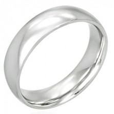 Gewölbter Hochzeitsring aus Stahl mit glänzender Oberfläche, 6 mm
