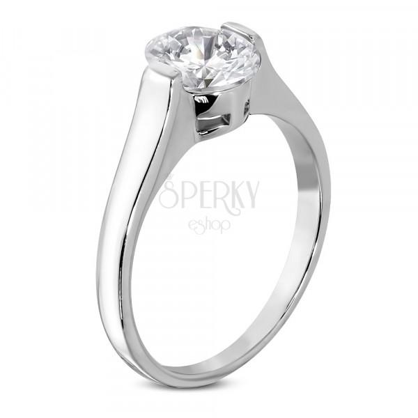 Ring für Damen mit klarem ovalförmigem Zirkonia