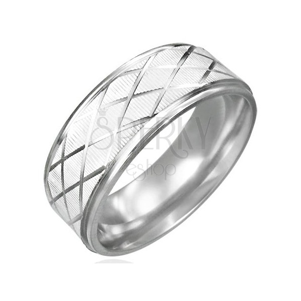 Ring aus Stahl geschliffen, mit Rautenmuster