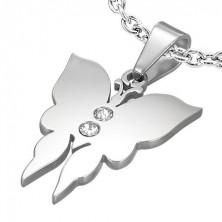 Anhänger aus Stahl - stumpfer Schmetterling mit zwei Zirkonia