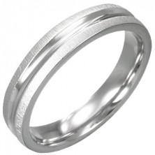 Ring aus chirurgischem Stahl - glänzende Mitte, geschliffener Rand