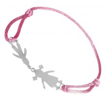 Silberarmband - Junge und Mädchen mit rosa Schnur